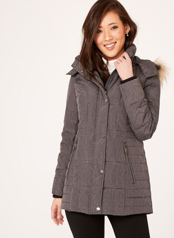 Quilted Down Filled Coat, Grey, hi-res
