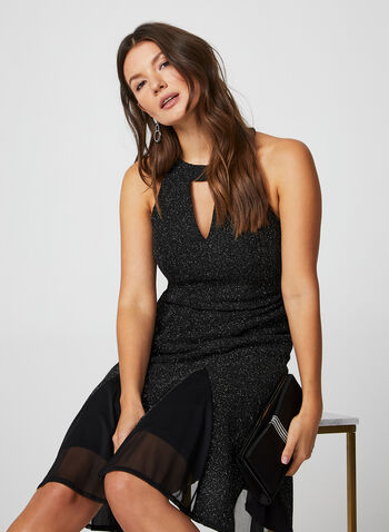Glitter Cleo Neck Dress, Black,