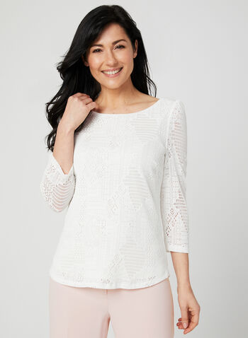 Jacquard Mesh Top, Off White, hi-res