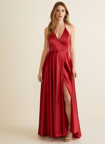 Satin Halter Dress, Red,  prom dress, gown, spaghetti straps, halter neck, sleeveless, satin, high low, crossover, pockets, spring summer 2020