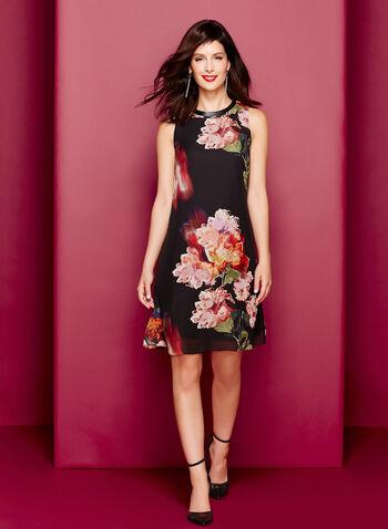 Floral Print Chiffon Trapeze Dress, , hi-res