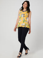 Floral Print Sleeveless Top, Yellow