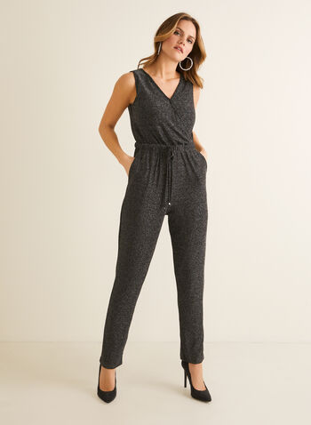 Metallic V-Neck Jumpsuit , Black,  jumpsuit, metallic, v-neck, sleeveless, elastic, slim leg, crossover, pockets, spring summer 2020