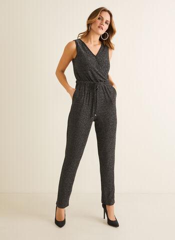 Combinaison en fibres métallisées , Noir,  combinaison, sans manches, col v, fibres métallisées, jambe étroite, printemps été 2020