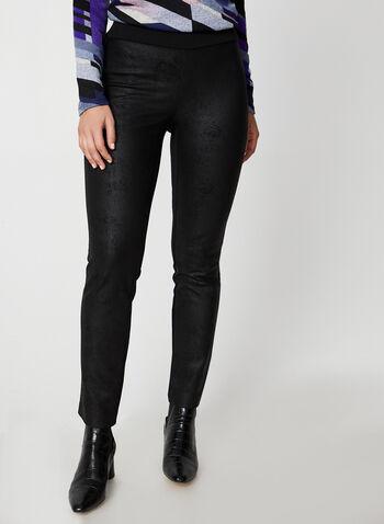 Legging à effet craquelé, Noir,  legging, pull-on, métallisé, craquelé, jambe étroite, pull-on, automne hiver 2019