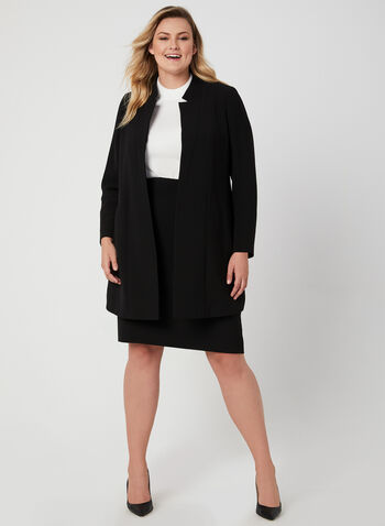 Notch Collar Redingote Jacket, Black,  open front, long, long sleeves, fall 2019, winter 2019