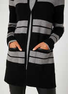 Stripe Print Cardigan, Black, hi-res