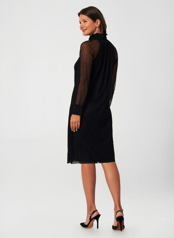 Long Sleeve Mesh Dress, Black