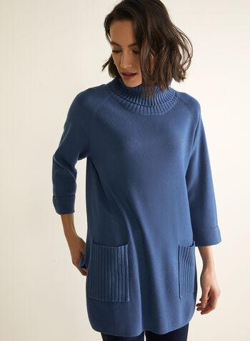 Pull tunique à col roulé , Bleu,  chandail, tricot, pull, tunique, manches longues, col roulé, automne hiver 2020