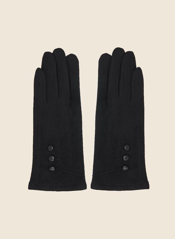 Gants en faux suède à détails boutonnés, Noir