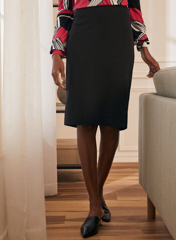Ponte de Roma Straight Skirt, Black,  skirt, pull-on, straight, ponte de roma, fall winter 2019