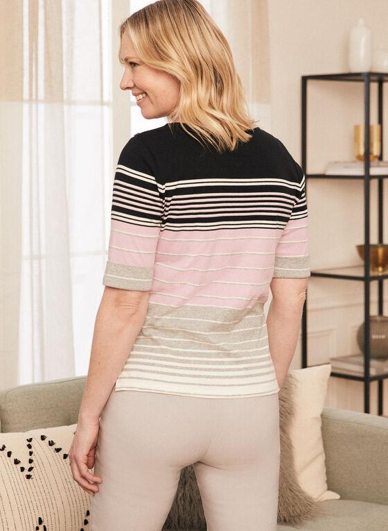 Stripe Print Elbow Sleeve Tee, Pink