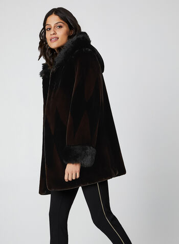 Nuage - Two Tone Faux Fur Coat, Black,  coat, faux fur coat, faux fur, hood, winter coat, fall 2019, winter 2019