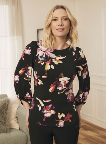 Floral Print 3/4 Sleeve Top, Black,  top, round neck, 3/4 sleeves, bubble, floral, spring summer 2021