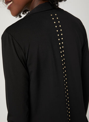 Studded Open Front Cardigan, Black, hi-res