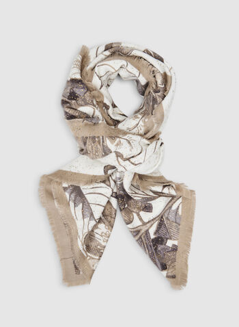 Floral Print Scarf, Off White,  scarf, floral, fringes, fall 2019, winter 2019