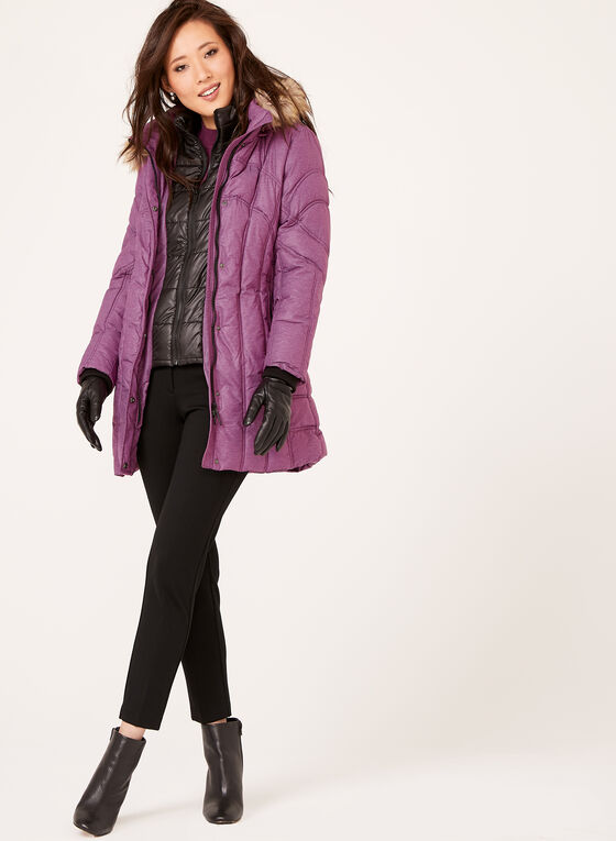 Removable Faux Fur Quilted Down Coat , Pink, hi-res
