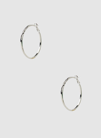 Crystal Detail Hoop Earrings, Silver, hi-res,