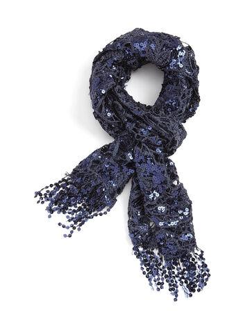 Sequin Crochet Pashmina Scarf, Blue, hi-res
