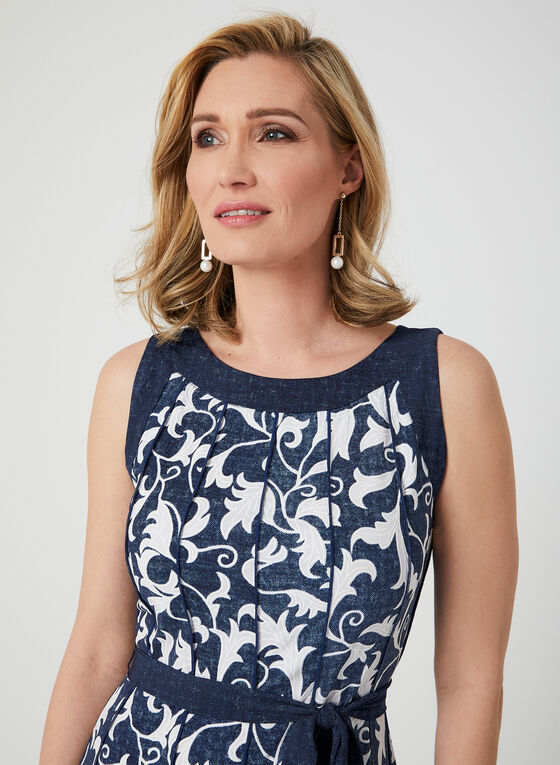 Scroll Print Jersey Dress, Blue, hi-res
