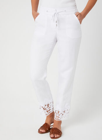 Modern Fit Straight Leg Pants, White, hi-res,  Modern Fit, pants, drawstring, linen, wide leg, spring 2019