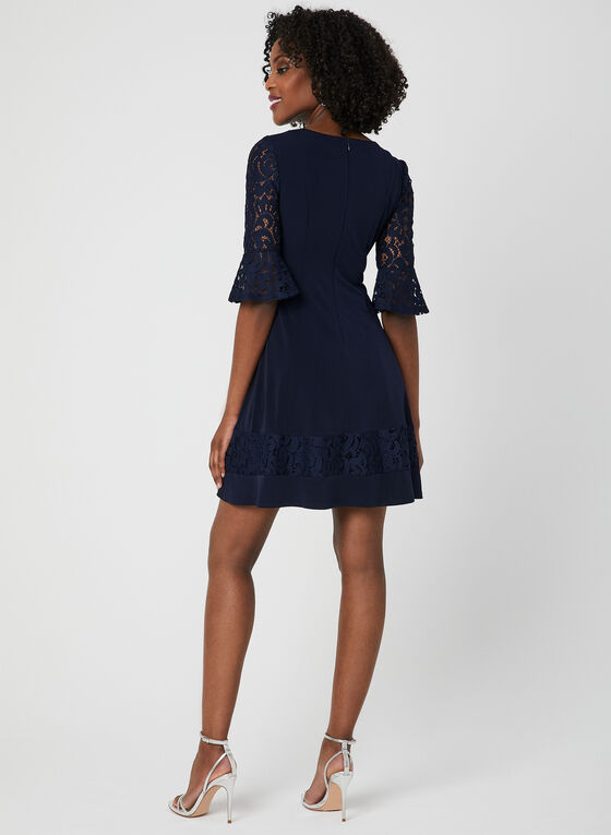 Bell Sleeve Fit & Flare Dress, Blue