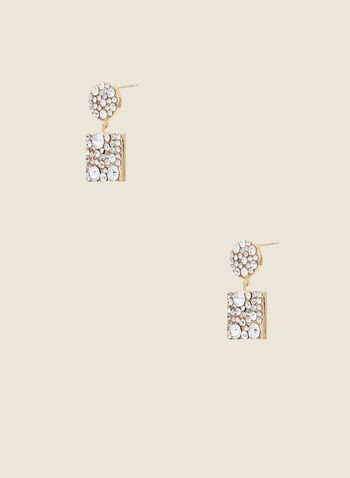 Geometric Crystal Earrings, Gold,  earrings, geometric, circle, square, crystal, dangle, fall winter 2020