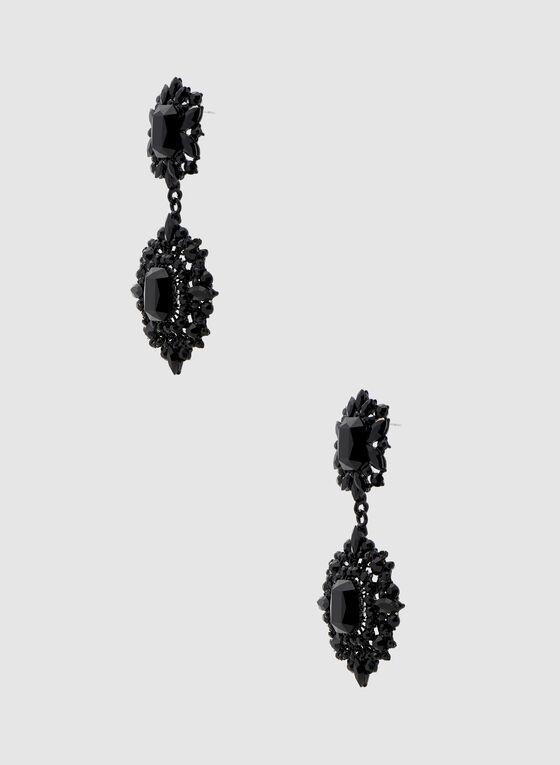 Tiered Crystal Dangle Earrings, Black, hi-res