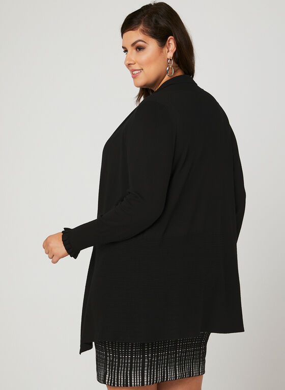 Peplum Open Front Cardigan, Black, hi-res