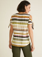 Stripe Print Cold Shoulder Top, Green