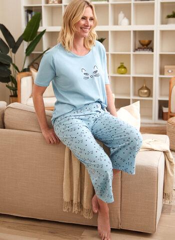 Cat Print Pyjama Set, Blue,  spring summer 2021, pajamas, PJs, sleepwear, bedtime, nighttime, made in Canada, scoop neck, boat neck, cat motif, feline, pull on,