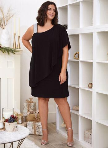 Rhinestone Strap Ruffle Dress, Black,  fall 2021, dress, cocktail dress, evening dress, occasion dress, asymmetric, asymmetrical, ruffle, ruffled, wide strap, rhinestone, short sleeve