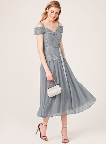 Glitter Lace Off The Shoulder Dress, Grey, hi-res