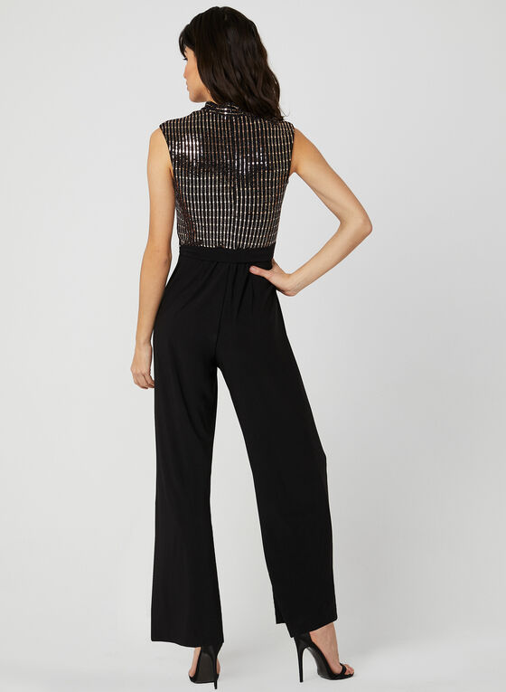 Deep V Sequin Jumpsuit, Black, hi-res