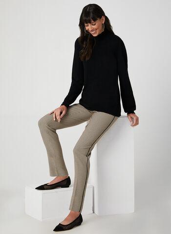 Pull en tricot à effet texturé, Noir, hi-res,  automne hiver 2019, col cheminée, tricot, manches longues, bouffant