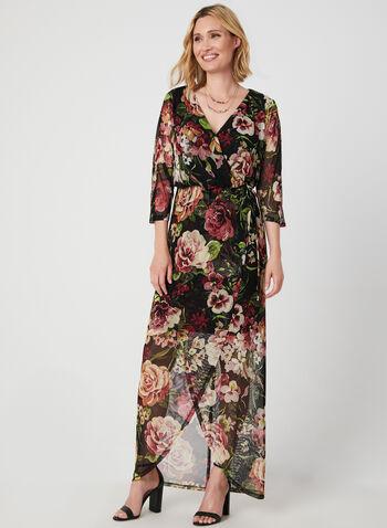 Surplice Neck Maxi Wrap Dress, Black,  long dress, maxi dress, floral print dress