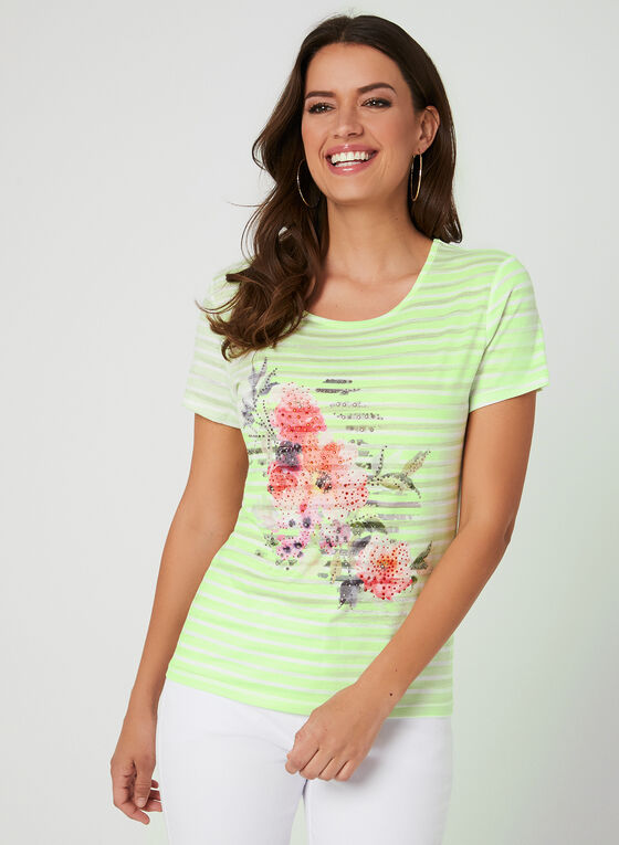 T-shirt rayé à fleurs et cristaux, Vert, hi-res
