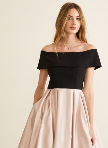 Off-The-Shoulder Ball Gown, Black,  prom dress, ball gown, crinoline, off-the-shoulder, jersey, satin, pockets, high low, spring summer 2020