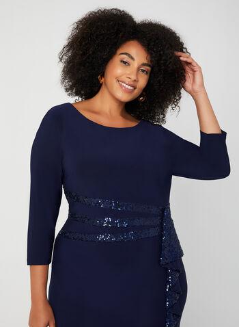 Robe à manches longues et détails sequins, Bleu,  robe cocktail, manches longues, col dégagé, sequins, drapé, automne hiver 2019