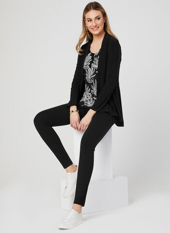 Long Sleeve Open Front Top, Black, hi-res