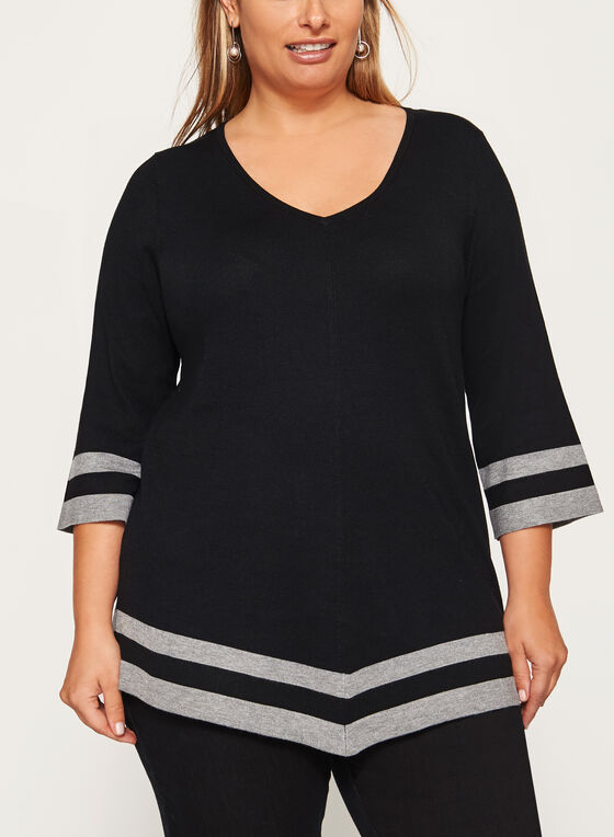 Contrast Asymmetric Knit Sweater, Black, hi-res