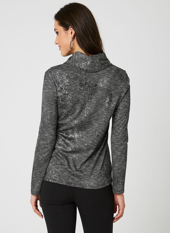 Snakeskin Print Cowl Neck Top, Grey, hi-res