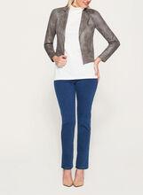 Vex - Faux Suede Zipper Trim Jacket, Grey, hi-res