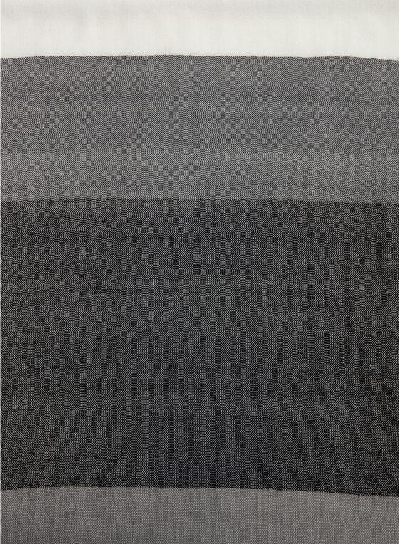 Wide Stripe Scarf, Black, hi-res