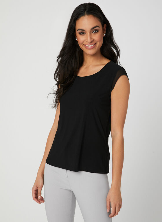 Chiffon Trim Jersey Blouse, Black