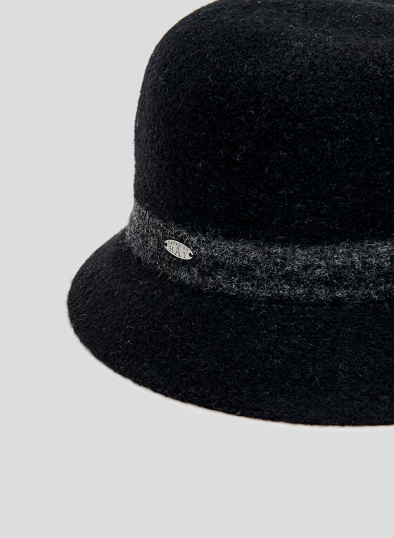 Chapeau cloche à bordure contrastante, Noir, hi-res