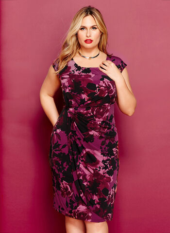Floral Print Faux Wrap Dress, , hi-res