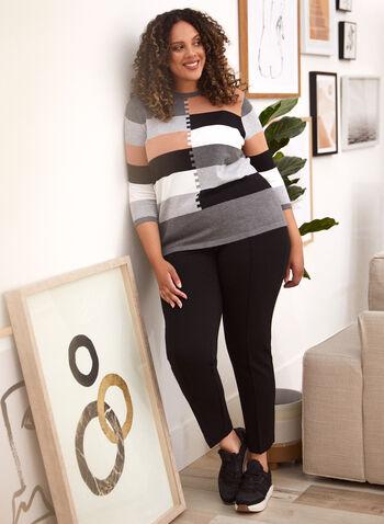 Pull en tricot à couleurs blocs, Gris,  automne hiver 2020, pull, chandail, tricot, manches 3/4, encolure ronde, blocs