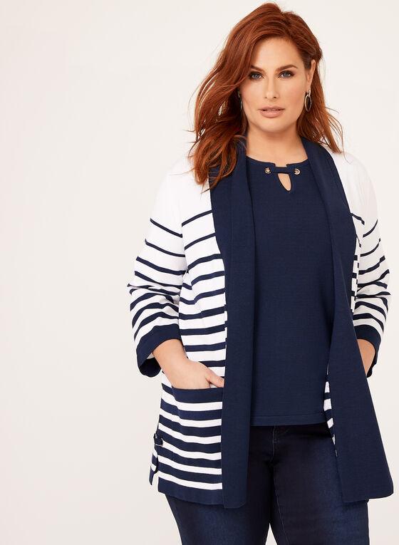 Cardigan ouvert à rayures en tricot, Bleu, hi-res