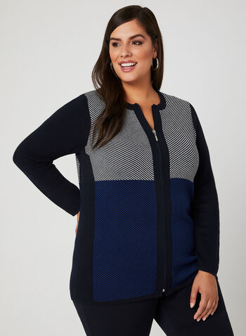 Colour Block Zip Front Cardigan, Blue, hi-res